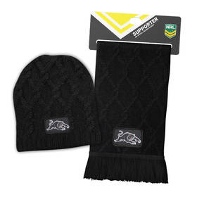 Panthers Cable Skull Beanie + Cable Knit Scarf