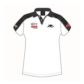 2019 PANTHERS LADIES WHITE MEDIA POLO