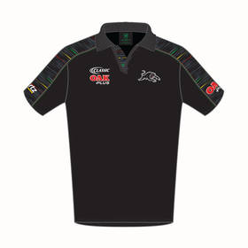2019 PANTHERS MEN'S BLACK MEDIA POLO