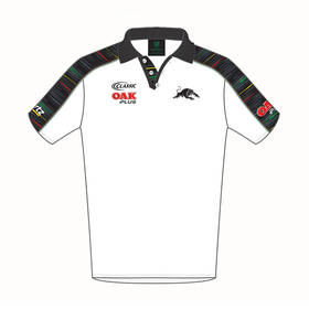 2019 PANTHERS MEN'S WHITE MEDIA POLO