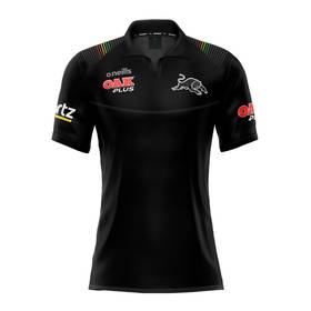 2020 Panthers Ladies Black Media Polo