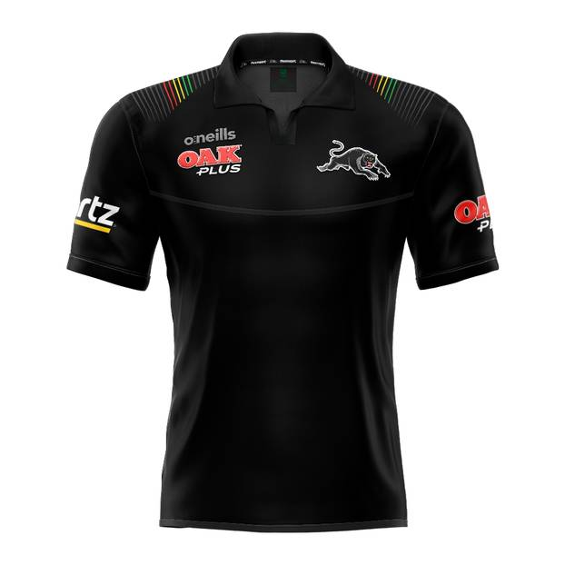 2020 Panthers Youth Black Media Polo0