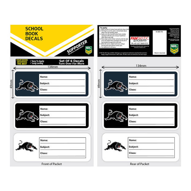 Panthers Book Labels2